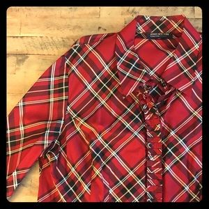 Plaid Red and white blouse